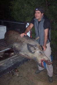 The author with a large sow shot with a .308 caliber Howa 1500 rifle.