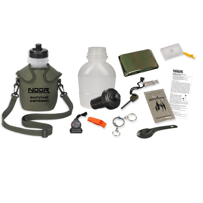Survival Canteen w/Advanced Filter Olive Pouch