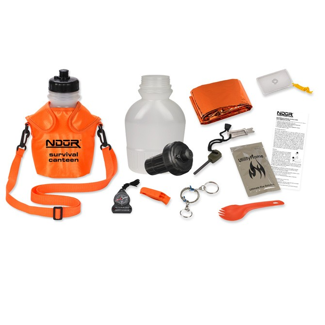 Survival Canteen w/Advanced Filter Orange Pouch